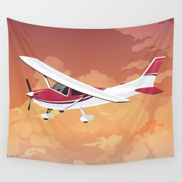 Cessna Flying Through Clouds Wall Tapestry