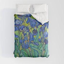 Vincent Van Gogh Irises Painting Detail Comforters
