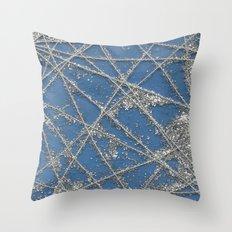 Sparkle Net Blue Throw Pillow