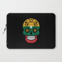 Sugar Skull with Roses and Flag of Lithuania Laptop Sleeve