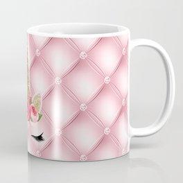 Pink Roses Gold Glitter Unicorn Coffee Mug