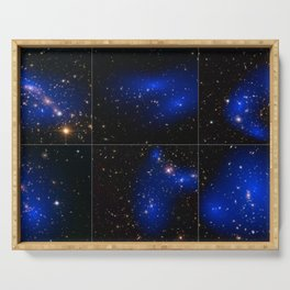 Hubble Space Telescope - Collage of six cluster collisions with dark matter maps Serving Tray