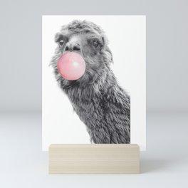 Cute Llama Alpaca Blowing Bubble Gum Mini Art Print