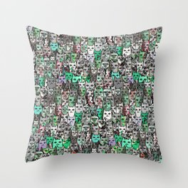 Forest Cats Green Watercolor Throw Pillow
