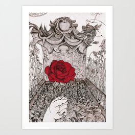 rose and grave Art Print