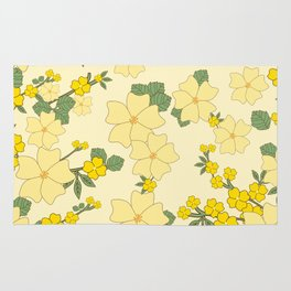 Flowers, Petals, Leaves, Blossoms - Yellow Green Rug
