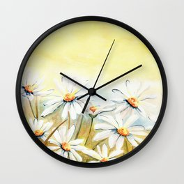 Daisies Watercolor Wall Clock