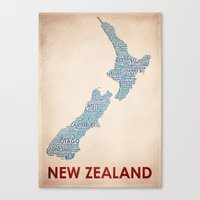 new zealand Canvas Prints featuring New Zealand by Wordmaps