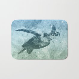 Geometric Flying Green Sea Turtle Bath Mat