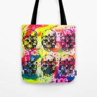 ultraviolence Tote Bags featuring Ultraviolence 4i skull - mixed media on canvas by kakin