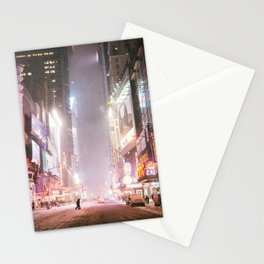 New York City Colorful Snowy Night in Times Square Stationery Cards