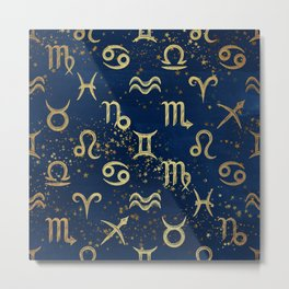 Twelve Zodiac Signs Horoscope Pattern Metal Print