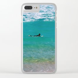Surfer paddling to the surf at Bronte Beach. Sydney. Australia. Clear iPhone Case