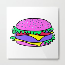 Psychedelic burger / Blue Grid Metal Print