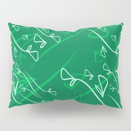 Pattern from vegetable tea and olive elements on an emerald background in a geometric style. Pillow Sham