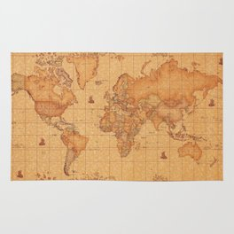 World Map LeaTher Rug