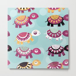turtle Seamless pattern with funny cute animal on a blue background Metal Print