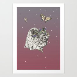 The Boar and the Butterflies at Dusk Art Print