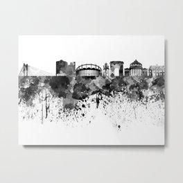 Bucharest skyline in black watercolor Metal Print