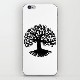 black and white abstract tree of life I iPhone Skin
