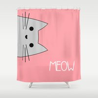 meow Shower Curtains featuring Meow by Hugh & West