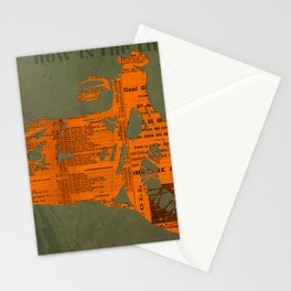Orange and green abstract motorcycle, man cave decoration, gift for him Stationery Cards