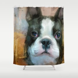 I Adore You Boston Terrier Art Shower Curtain