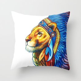 The Lion Chief Throw Pillow