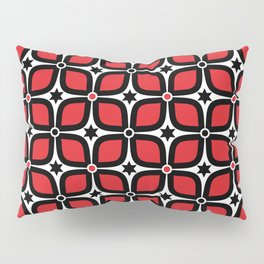 Mid Century Modern 4 Leaf Clover - Black, White, Red Pillow Sham