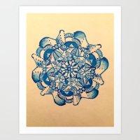 mandala azzuro Art Print
