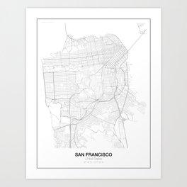 San Francisco, United States Minimalist Maps Art Print
