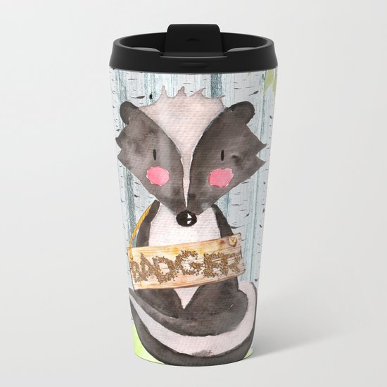 Badger- Woodland Friends- Watercolor Illustration Metal Travel Mug
