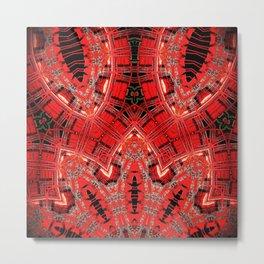 Vintage Red Hankerchief Pattern Design Metal Print