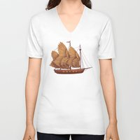 ship V-neck T-shirts featuring Winged Odyssey by Terry Fan