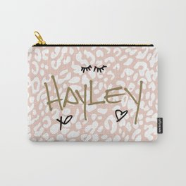 Hayley (Handwritten on Pink Leopard) Carry-All Pouch