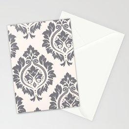 Decorative Damask Art I Grey on Cream Stationery Cards