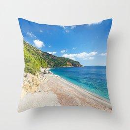 The beach Velanio of Skopelos island, Greece Throw Pillow