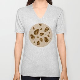 pine cones. abstract pattern of pine cones and nuts Unisex V-Neck