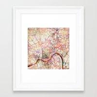 cincinnati Framed Art Prints featuring Cincinnati by MapMapMaps.Watercolors