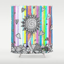 Striped Flower Shower Curtain