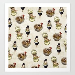 FOOD FAERIES- udon, sushi, and dimsum Art Print