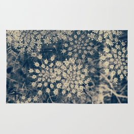 Dreamy Old Lace Flower and Navy Blue Denim Floral Rug