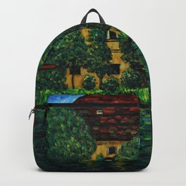 Castle with the red roof, Garden, and Lily Pond on the Attersee landscape painting by Gustav Klimt Backpack