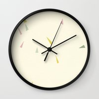 planes Wall Clocks featuring Paper Planes by Cassia Beck