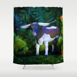 A Steer Cattle Cow at Night Shower Curtain