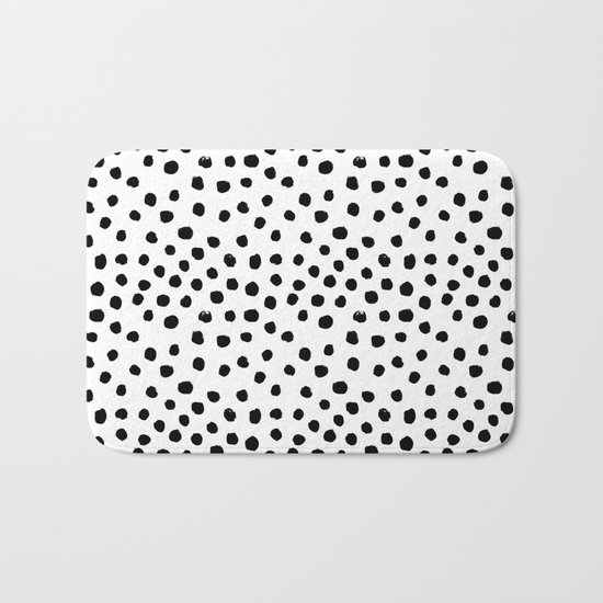 Preppy black and white dots minimal abstract brushstrokes painting illustration pattern print  Bath Mat