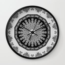 Shades of Grey - Geometric Floral Pattern Wall Clock