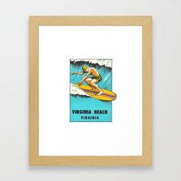 Virginia Beach Retro Vintage Surfer Framed Art Print