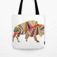 buffalo Tote Bags featuring Buffalo by Alex Dehoff