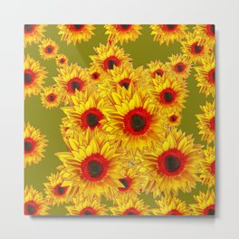 Moss Green & Yellow Red Center Sunflowers Pattern Metal Print